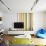 Resilient interior design in stripes and experimrntal furniture