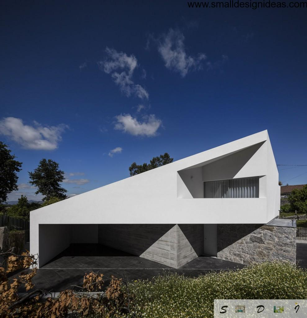 Unusual bold geometric forms in minimalistic house design