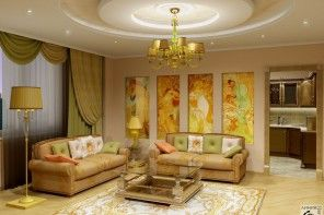 Plain living room in modern style and complex lighting