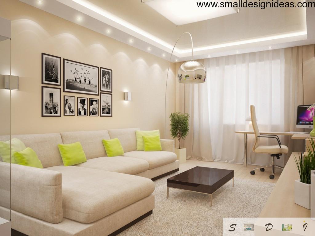 Beige gamma in living room decoration