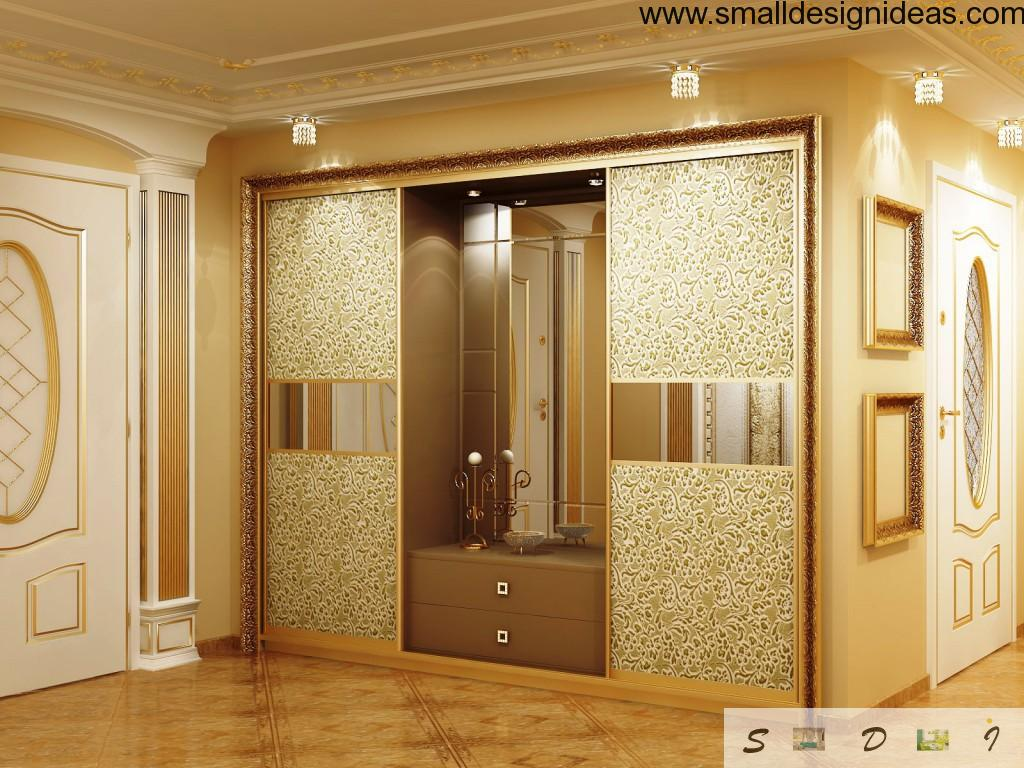3В panels of the golden closet in luxurious interior design