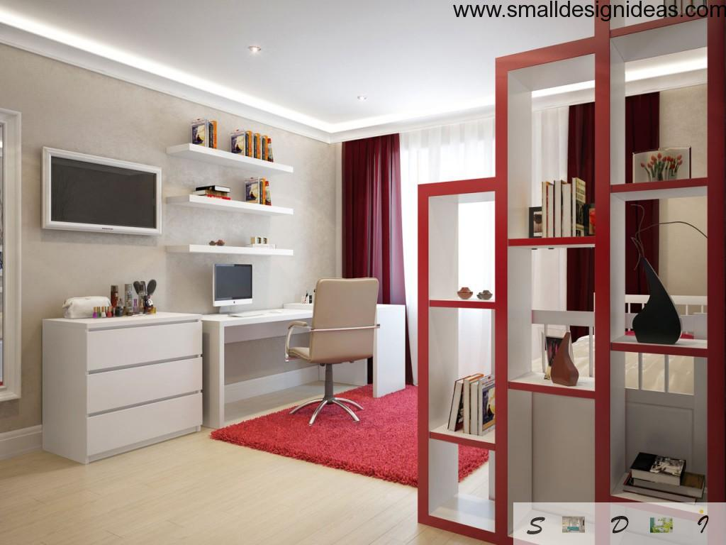 Home Office Design Ideas in white and red combination
