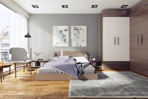 Contemporary bedroom of ascetic philosophy
