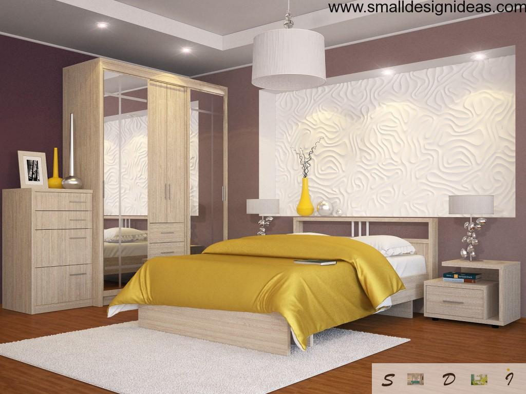 White and purple bedroom decoration and textured finishing