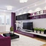 Nice living room in purple style, full of light
