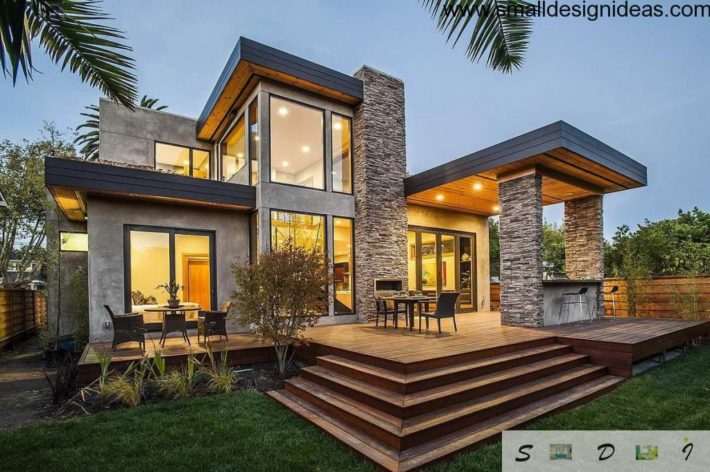 Nice attractive house facade design full of light and nature harmony