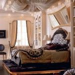 Royal bedroom with lots of textiles, glass and wood