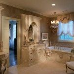 Bath in Modern style with intimate lighting