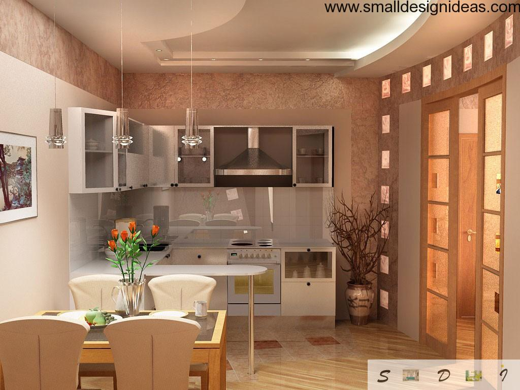 Kitchen in Modern style and floral decorations