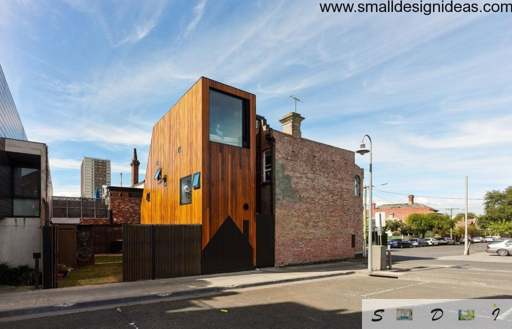 Urban minimalistic modern facade of residential combo