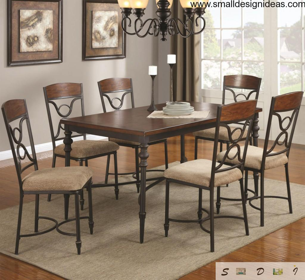 Metal furniture in the dining room of Modern style