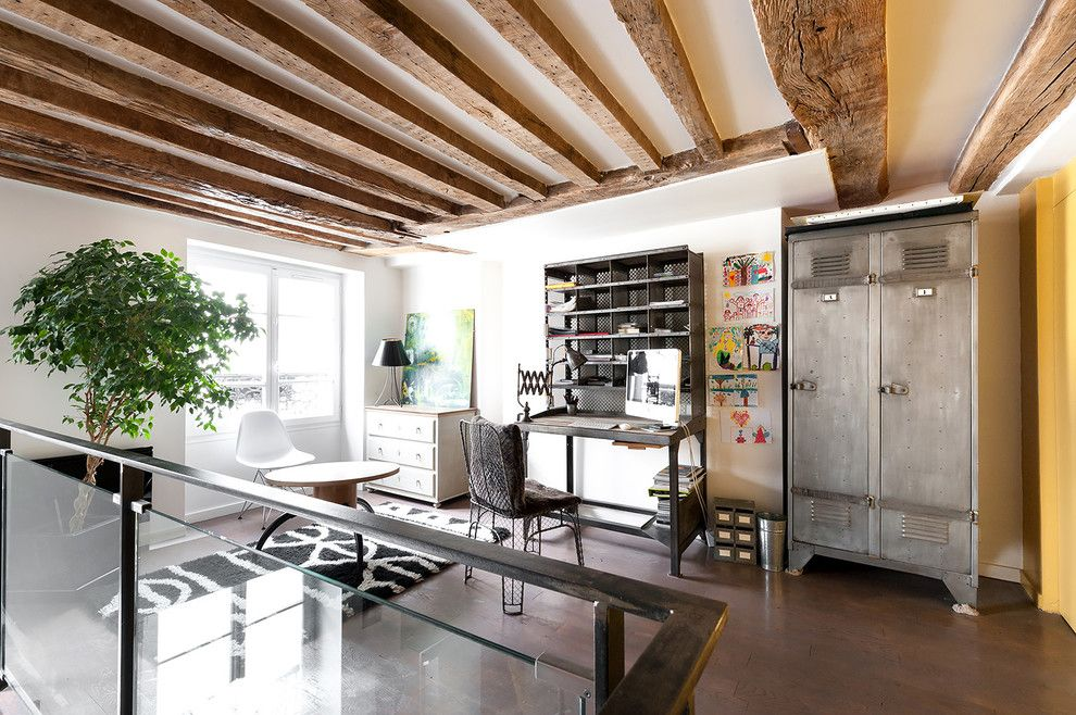 Brutal loft apartment study room with metal and wood trimming
