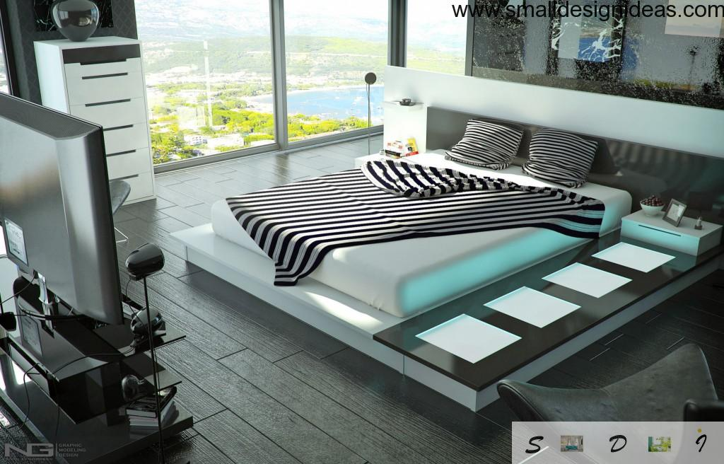 High-Tech Interior Style Overview. Bedroom