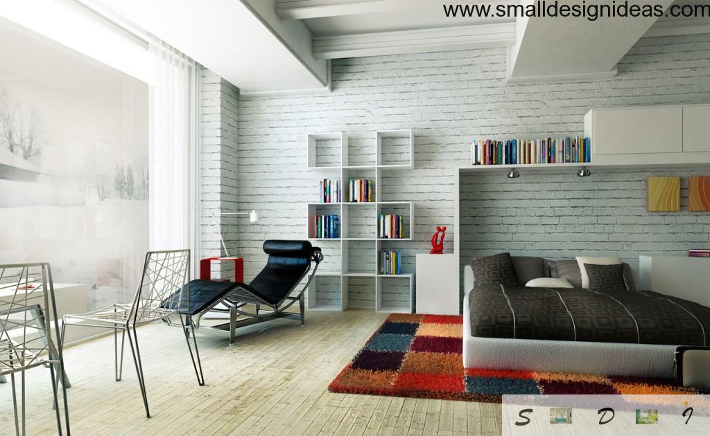 Large bedroom white brickwork contrasting design