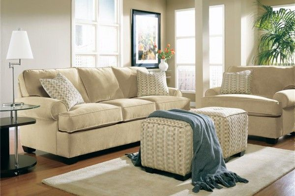 Nice cozy living room in beige color
