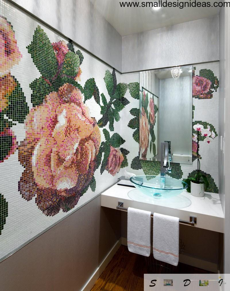Bathroom with mosaic picture of tile