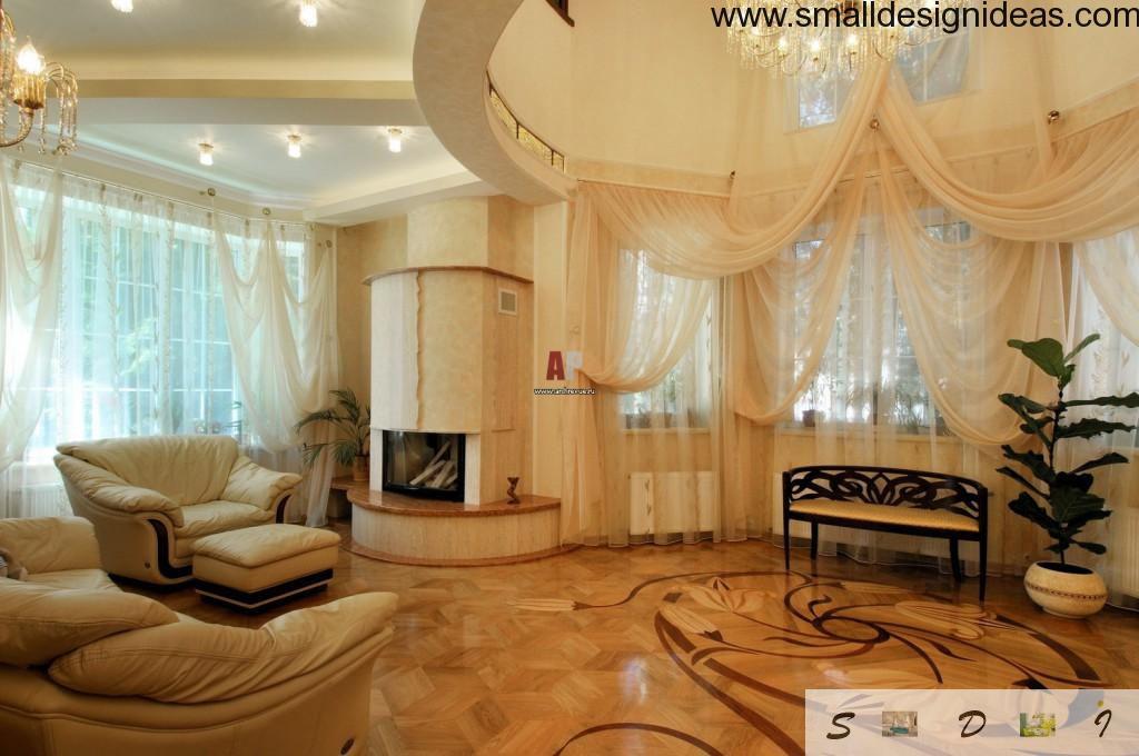 Wonderful living room with rounded design and marble floor