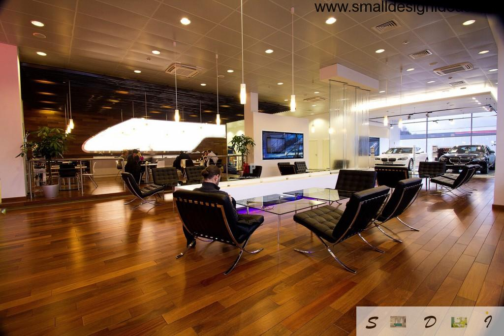 Car trading floor in modern mall in hi-tech design