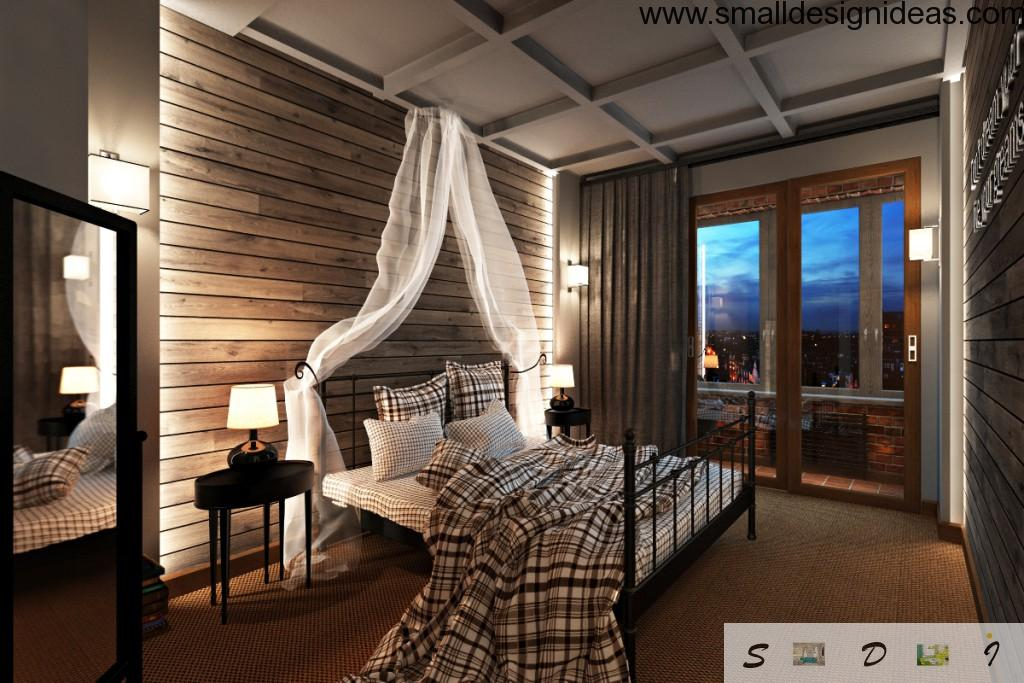 Loft two level apartment studio with wooden gray colored bedroom