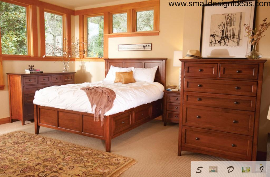 Bed with Drawers. Modern Design in wooden theme