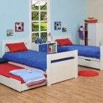 Transforming children beds with built-in drawers