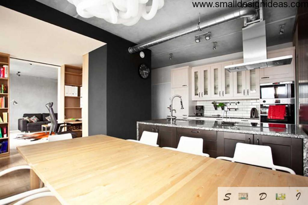 Loft apartment kitchen doesn`t separated from the dining area