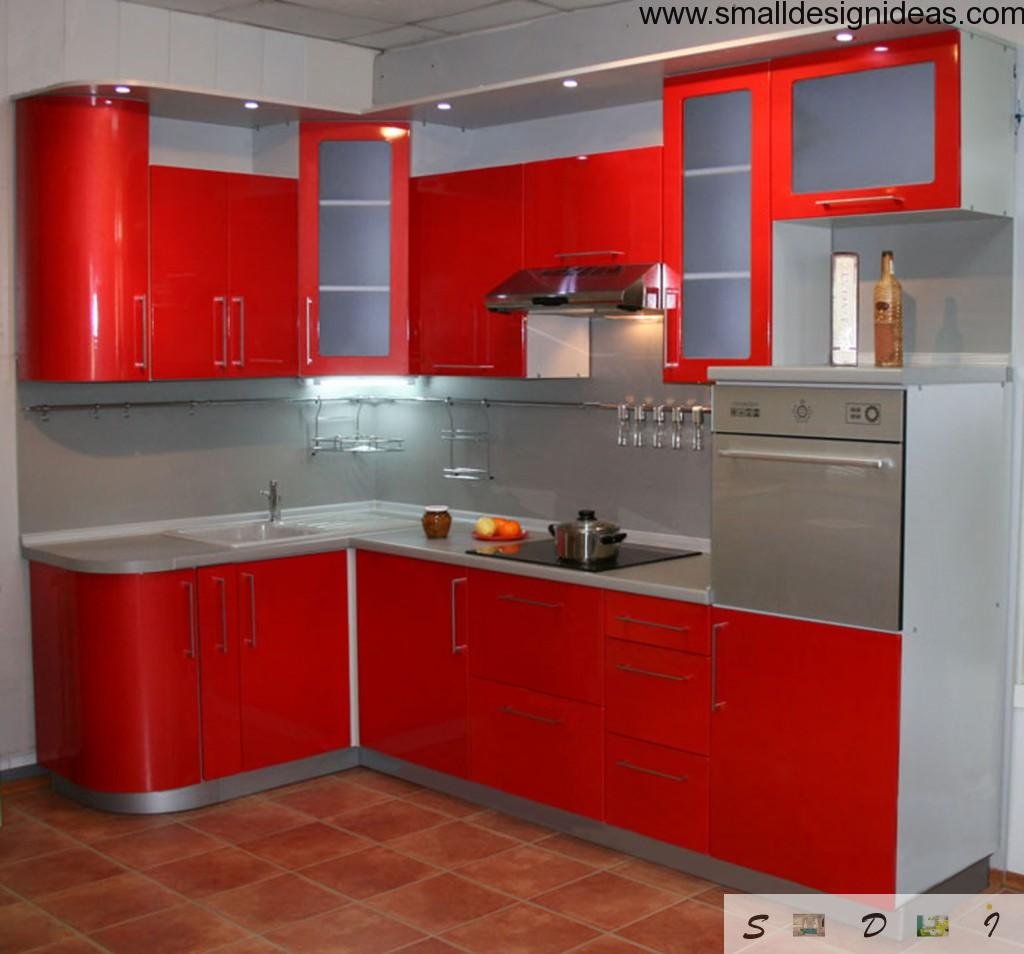 Red L-shaped kitchen design with artificial built-in light