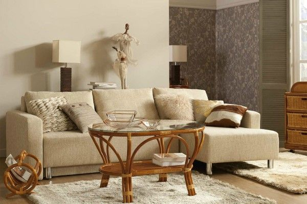 Wicker Furniture in Modern Interior of the living room