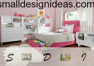 Pink bed for girl`s teenager room