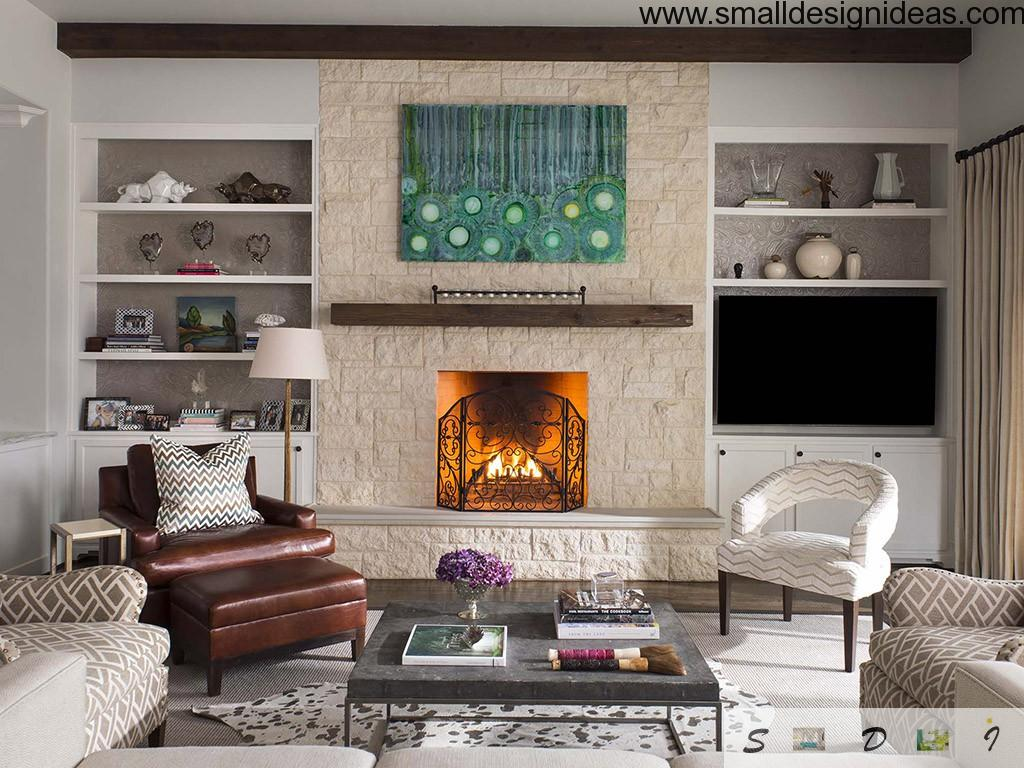 Country House Living Room Design Ideas in the interior with fireplace and coffee table