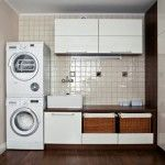 Laundry Room Interior. Main Decoration Features in the basement room