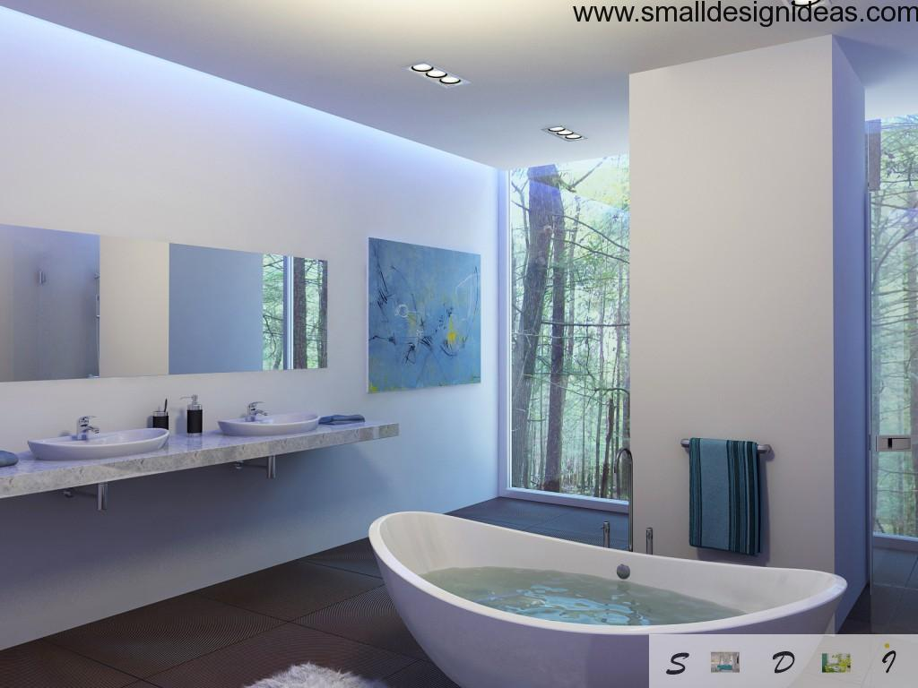 Calm and snowy design of the bathroom with painting and wide windows