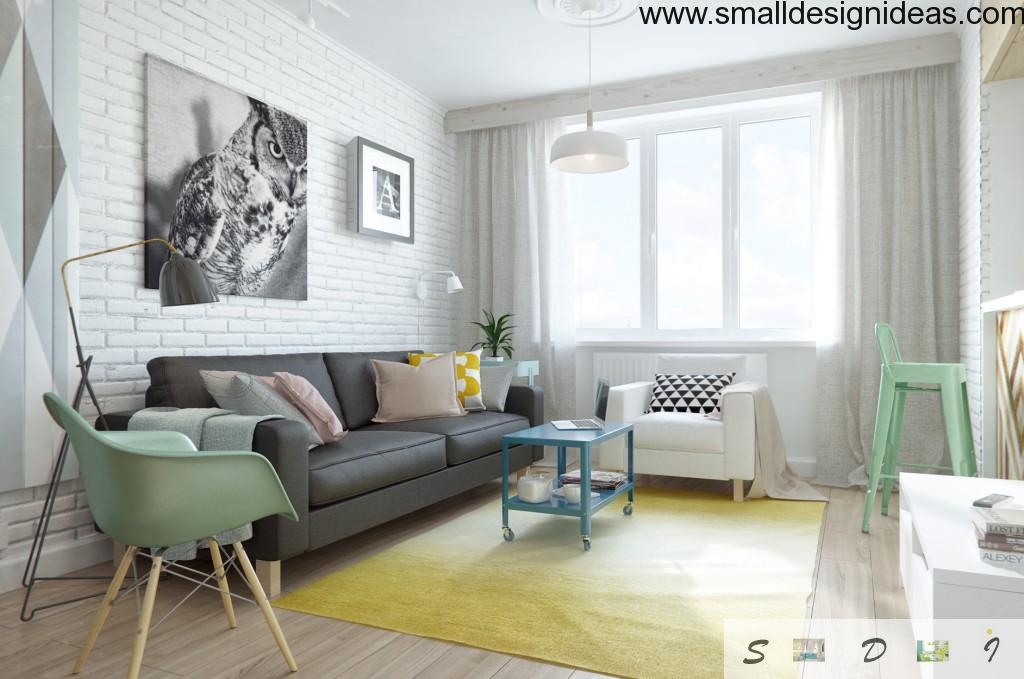 Prominent example of the Scandinavian interior of living room with wooden furniture and combination of bright colors