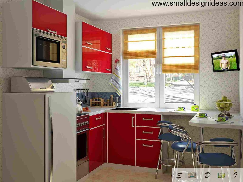 You can economize a lot of space with functional windowsill at the kitchen