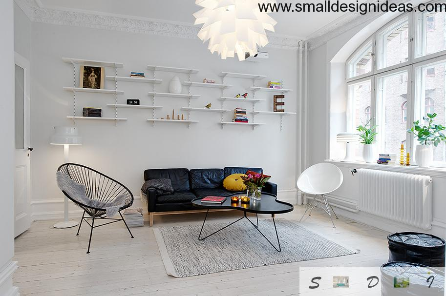 Scandinavian Style Cozy Apartment lving room with peculiar scandinavian furniture