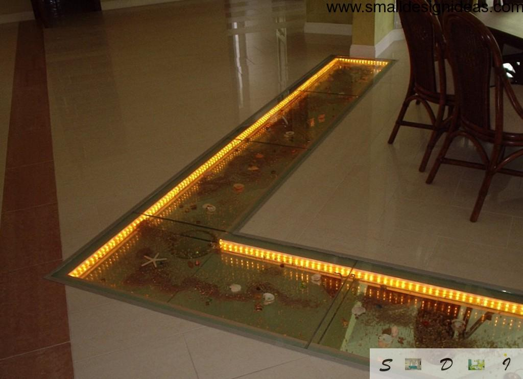 Nice chic idea to separate kitchen zones with glass floor and lighting