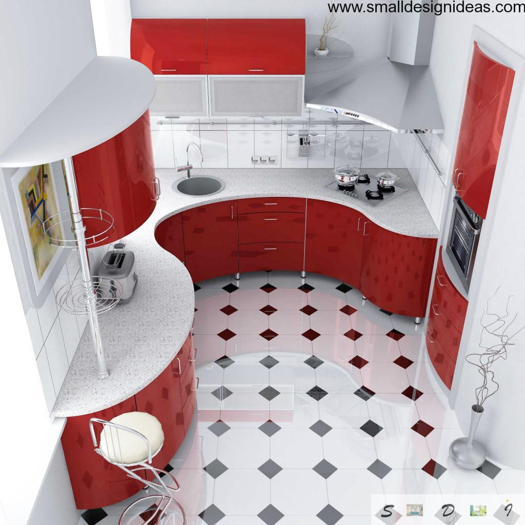 Waved red furniture at the modern kitchen. L-shaped design