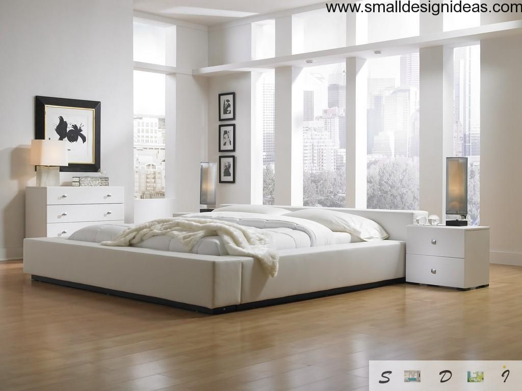Nice wide-window spacious white bedroom with contrasting elements. a bedroom is so intimate and highly personal matter. bright design ideas of the light bedrooms.