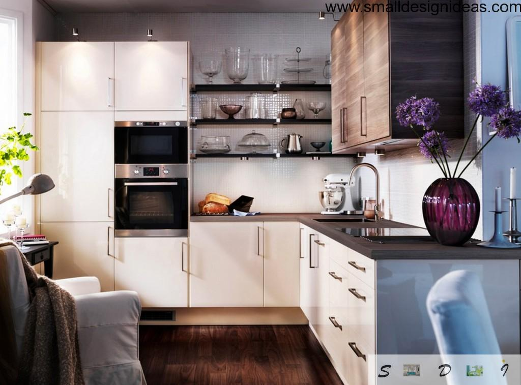 Simple small kitchen interior design with kitchen set and couple of ovens