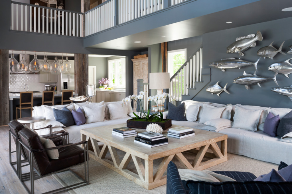 Marine And Wooden Theme In The Townhouse Living Room Designing