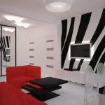 Red and Black Futurism style interior of the living room with original design solutions