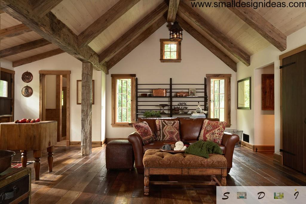 Wooden living room in the townhouse in eco solution