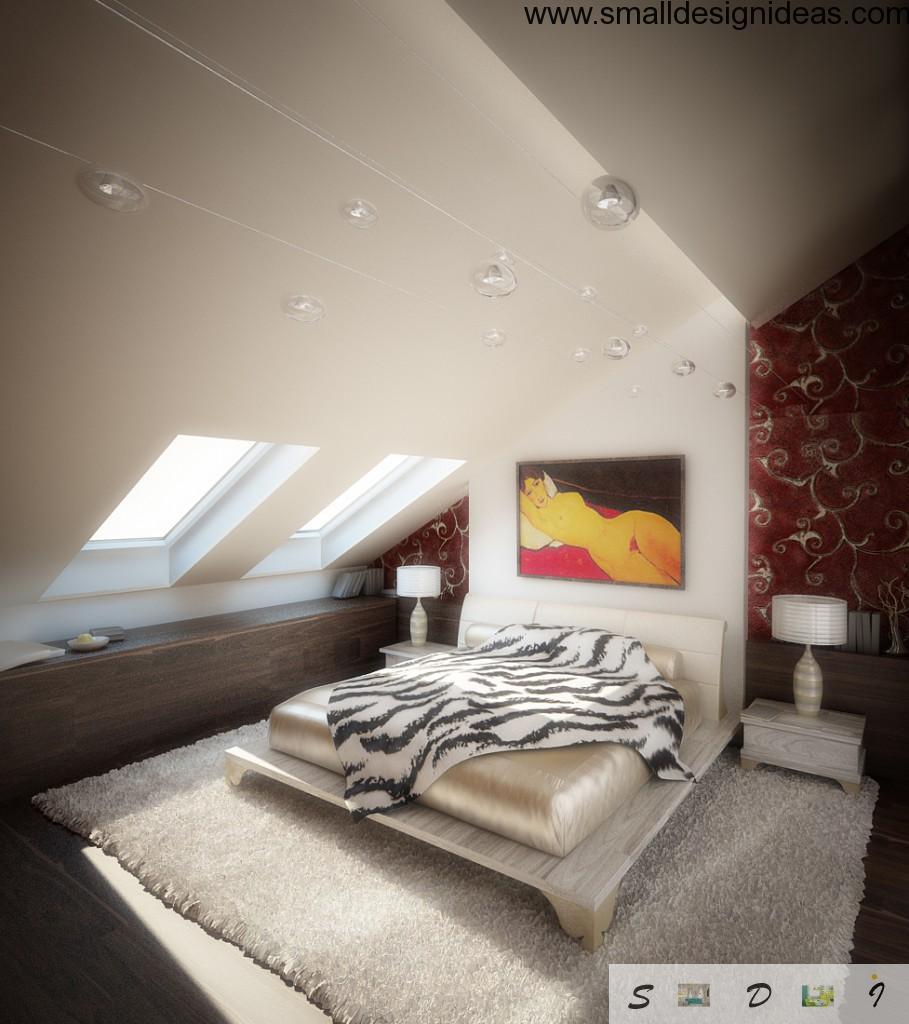 Attic bedroom design in white colors