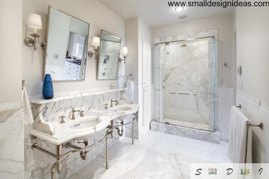 Marble for countertops and sinks in the bathroom