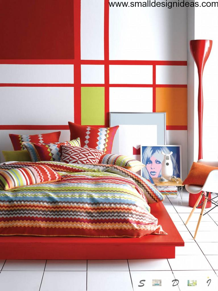 outsdanding and magnetizing red and white colorful linear design of the bedroom