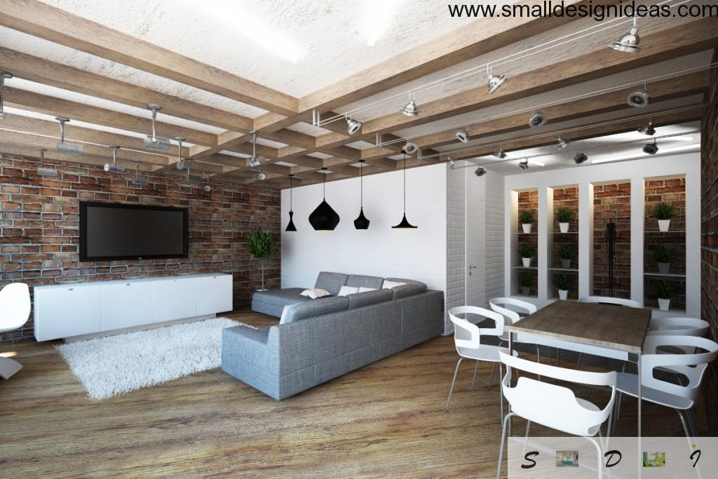 Two-Level Apartment in Loft Style zoning in light colors