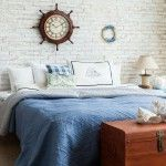 Bedroom with big sailor`s clock