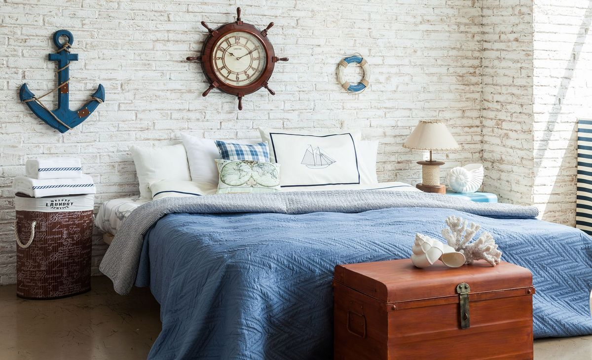 It Is Appropriate In The Interior Of The Apartment, In The Design Of  Townhouse, Beach House, Beauty Salon, Restaurant Or Shop. Marine Style In  Interior ...