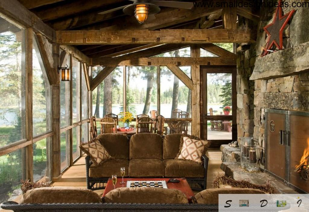 Rustic eco interior in the forest lodge