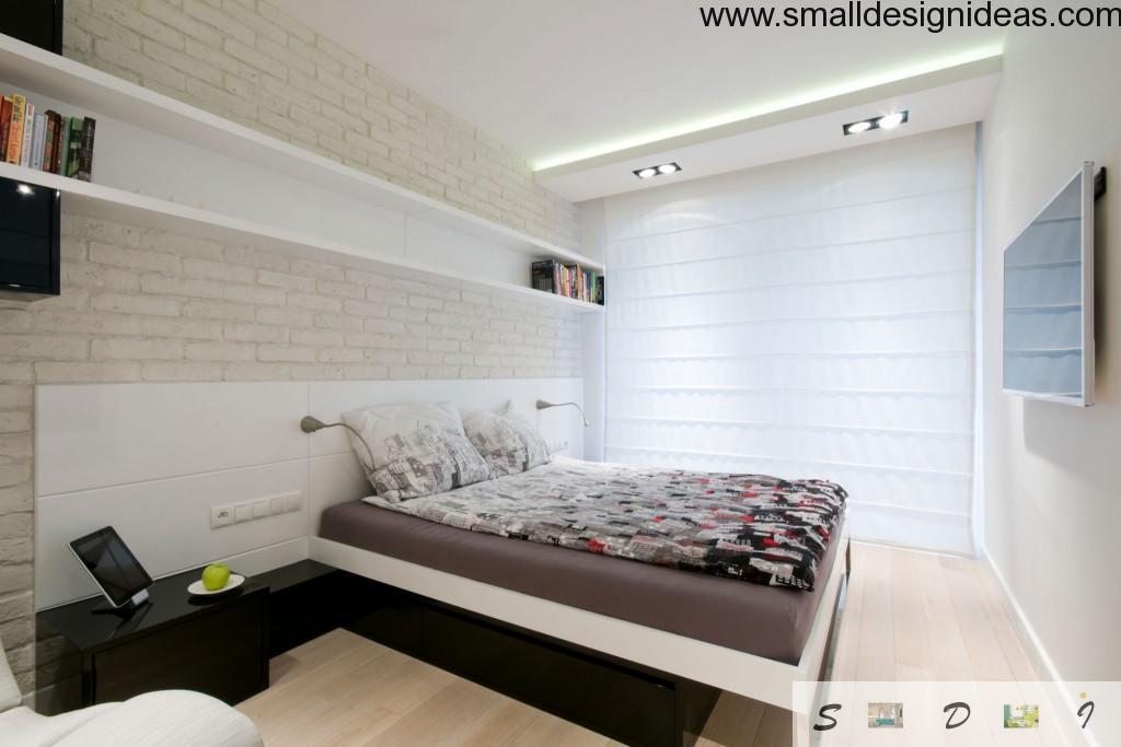 Whitewashed brickwork in bedroom interior